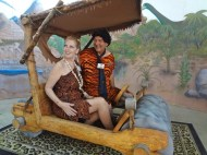Fred and Wilma Flintstone in Flintmobile at Rice Northwest Rock and Minerals Museum (2)